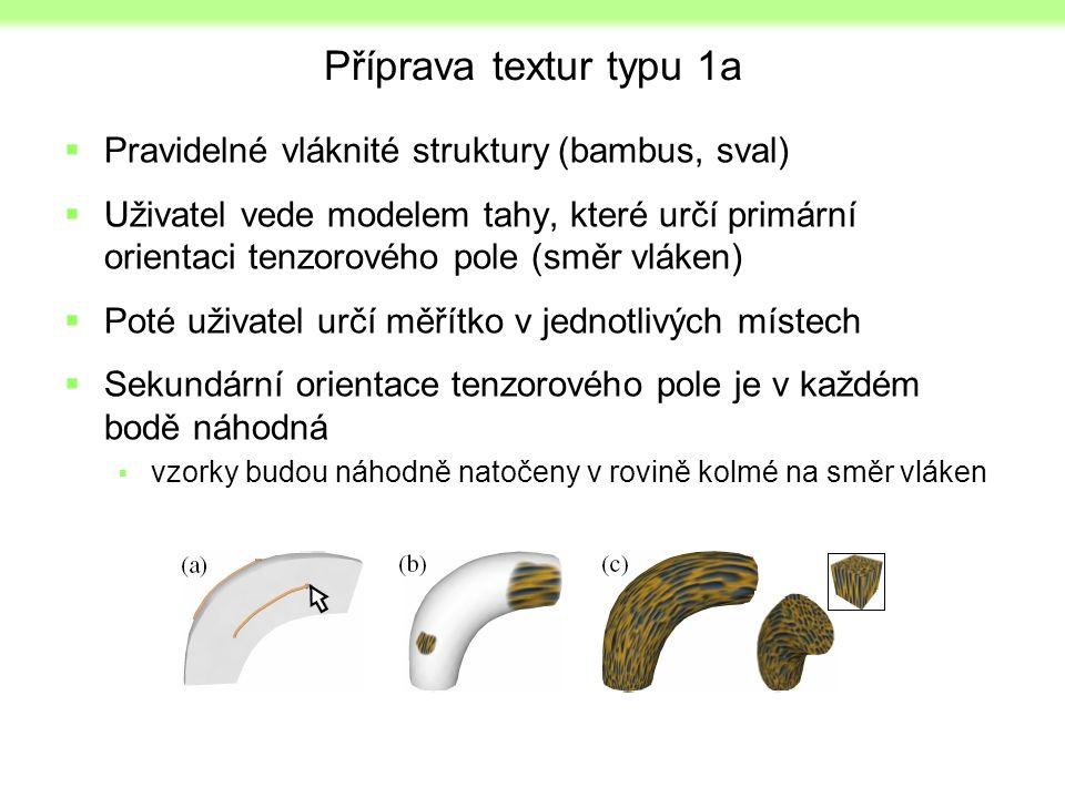 Příprava textur typu 1a  Pravidelné vláknité struktury (bambus, sval)  Uživatel vede modelem tahy, které určí primární orientaci tenzorového pole (s