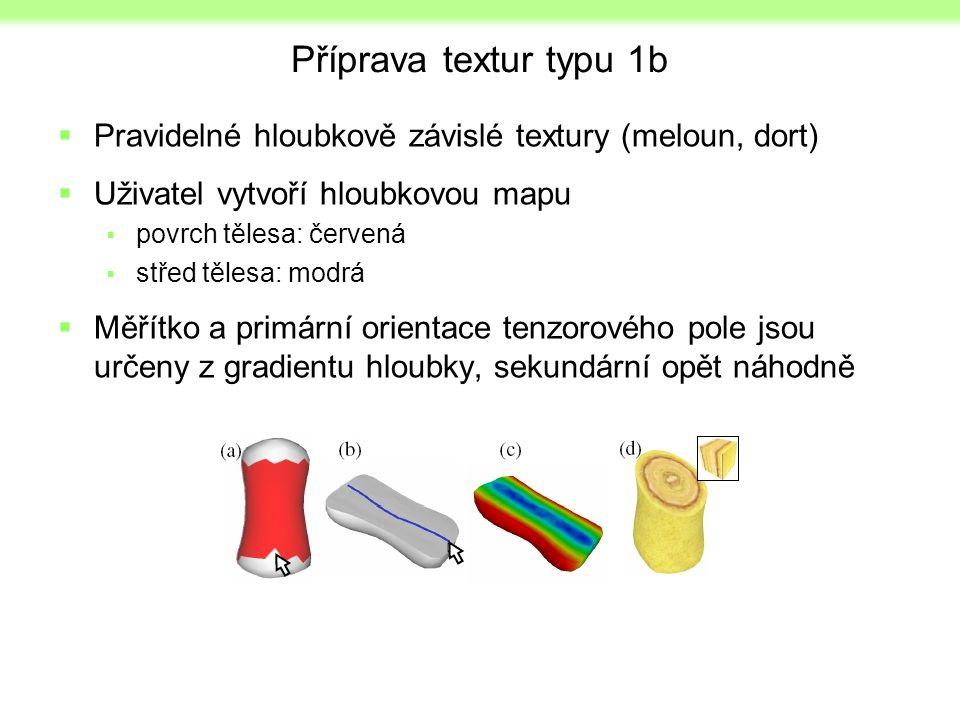 Příprava textur typu 1b  Pravidelné hloubkově závislé textury (meloun, dort)  Uživatel vytvoří hloubkovou mapu  povrch tělesa: červená  střed tělesa: modrá  Měřítko a primární orientace tenzorového pole jsou určeny z gradientu hloubky, sekundární opět náhodně