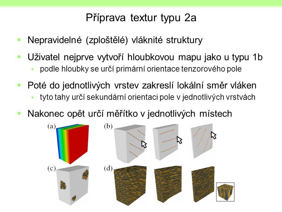 Příprava textur typu 2a  Nepravidelné (zploštělé) vláknité struktury  Uživatel nejprve vytvoří hloubkovou mapu jako u typu 1b  podle hloubky se urč