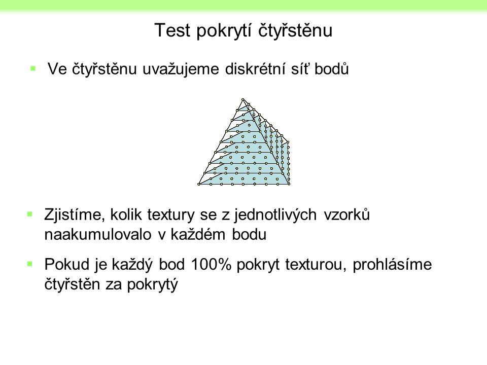 Test pokrytí čtyřstěnu  Ve čtyřstěnu uvažujeme diskrétní síť bodů  Zjistíme, kolik textury se z jednotlivých vzorků naakumulovalo v každém bodu  Pokud je každý bod 100% pokryt texturou, prohlásíme čtyřstěn za pokrytý
