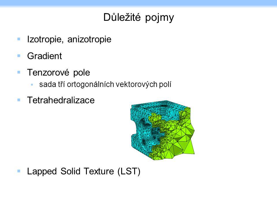 Důležité pojmy  Izotropie, anizotropie  Gradient  Tenzorové pole  sada tří ortogonálních vektorových polí  Tetrahedralizace  Lapped Solid Texture (LST)