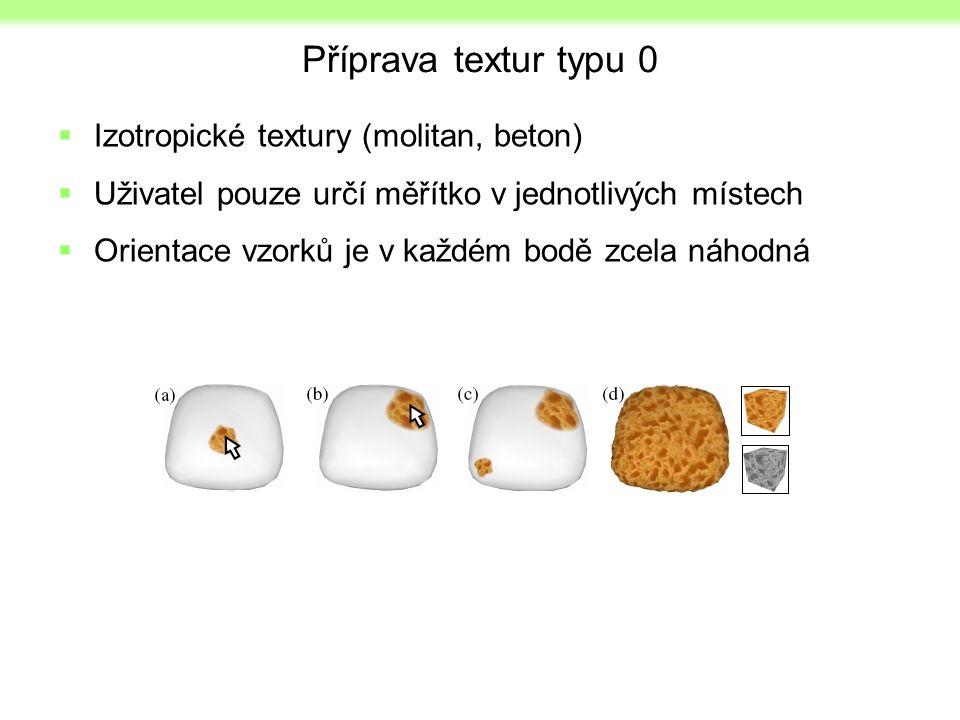 Příprava textur typu 0  Izotropické textury (molitan, beton)  Uživatel pouze určí měřítko v jednotlivých místech  Orientace vzorků je v každém bodě zcela náhodná