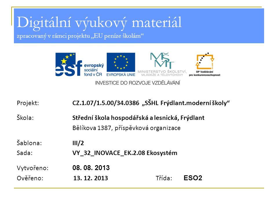 Ekosystém Vzdělávací oblast:Odborné vzdělávání Předmět:Ekologie Ročník:2.
