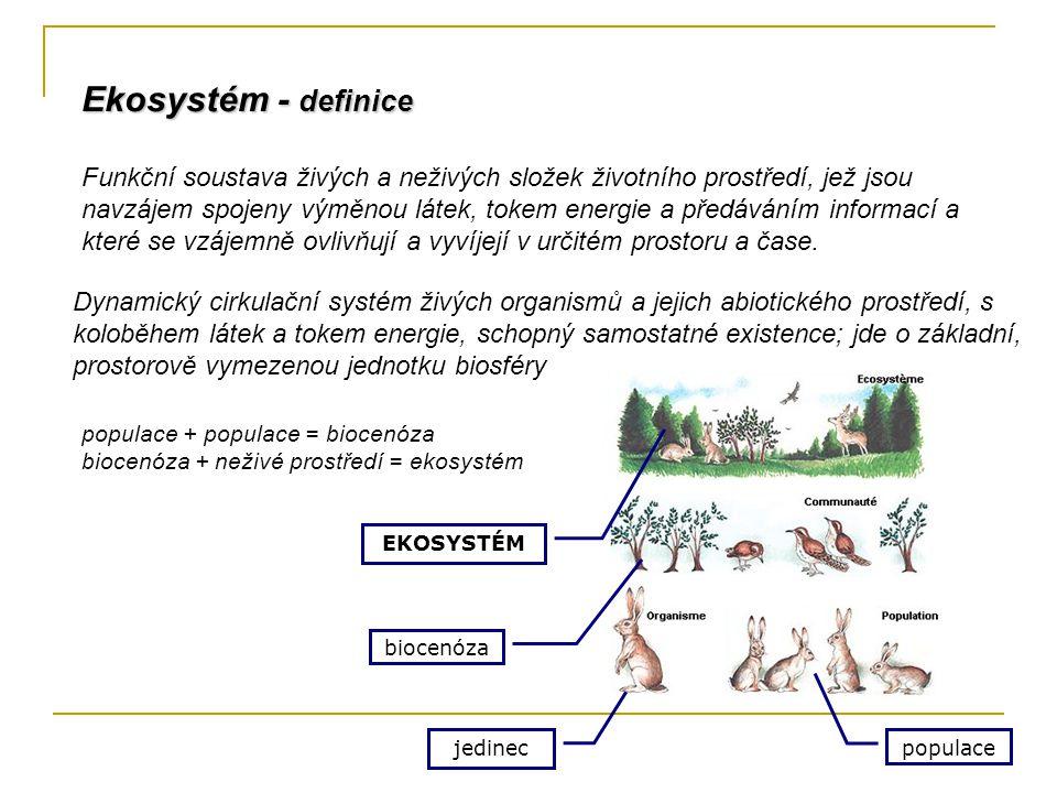Funkční soustava živých a neživých složek životního prostředí, jež jsou navzájem spojeny výměnou látek, tokem energie a předáváním informací a které s
