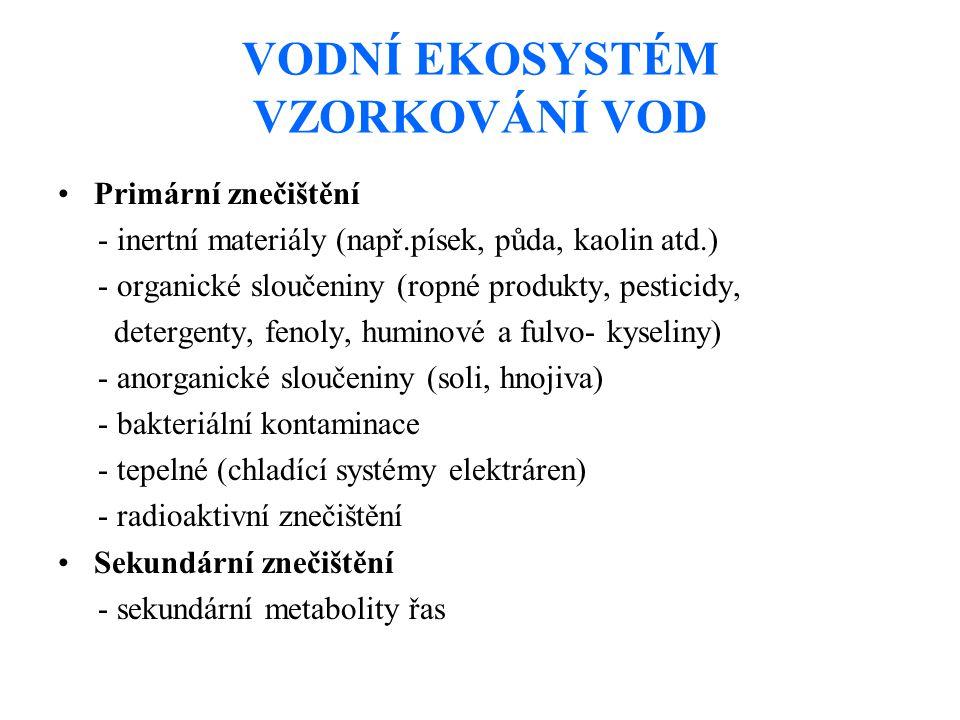 VODNÍ EKOSYSTÉM VZORKOVÁNÍ VOD Primární znečištění - inertní materiály (např.písek, půda, kaolin atd.) - organické sloučeniny (ropné produkty, pesticidy, detergenty, fenoly, huminové a fulvo- kyseliny) - anorganické sloučeniny (soli, hnojiva) - bakteriální kontaminace - tepelné (chladící systémy elektráren) - radioaktivní znečištění Sekundární znečištění - sekundární metabolity řas