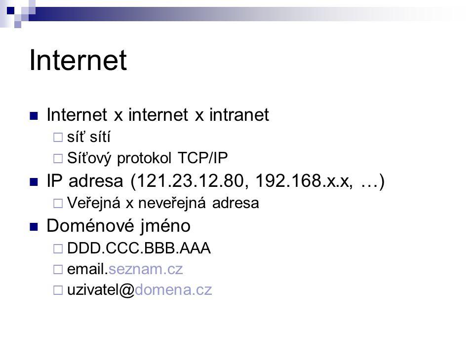 Internet Internet x internet x intranet  síť sítí  Síťový protokol TCP/IP IP adresa (121.23.12.80, 192.168.x.x, …)  Veřejná x neveřejná adresa Doménové jméno  DDD.CCC.BBB.AAA  email.seznam.cz  uzivatel@domena.cz