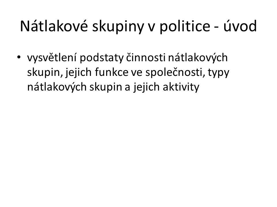 Nátlakové skupiny v politice - úvod vysvětlení podstaty činnosti nátlakových skupin, jejich funkce ve společnosti, typy nátlakových skupin a jejich aktivity