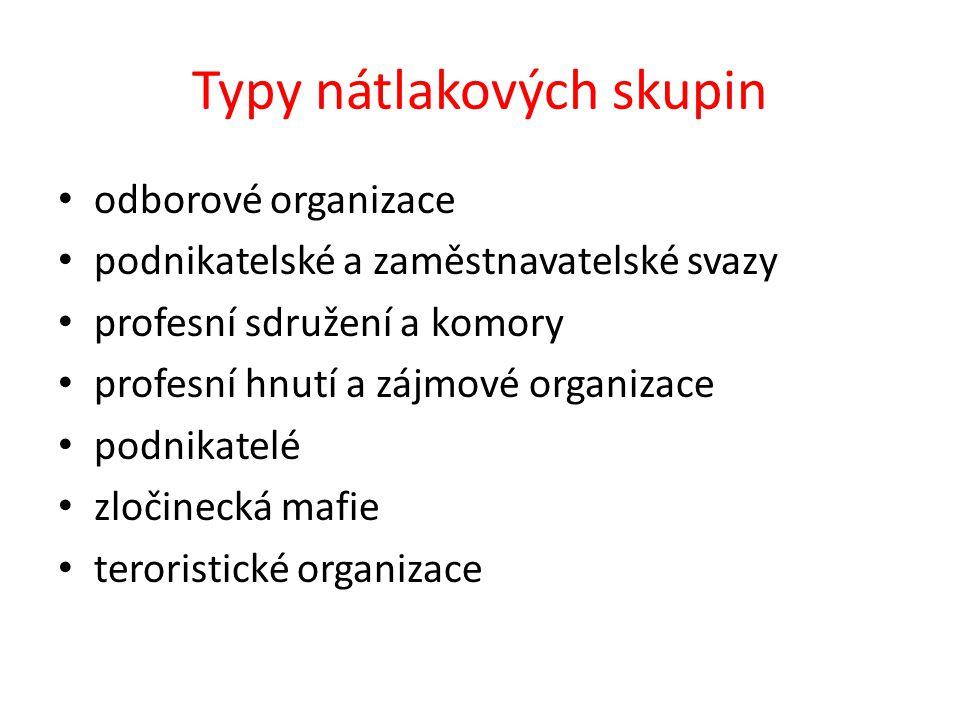Typy aktivit nátlakových skupin 1)Demonstrace - mohou mít různou podobu mítink pochod po důležitých komunikacích blokáda budov a komunikací obsazování budov