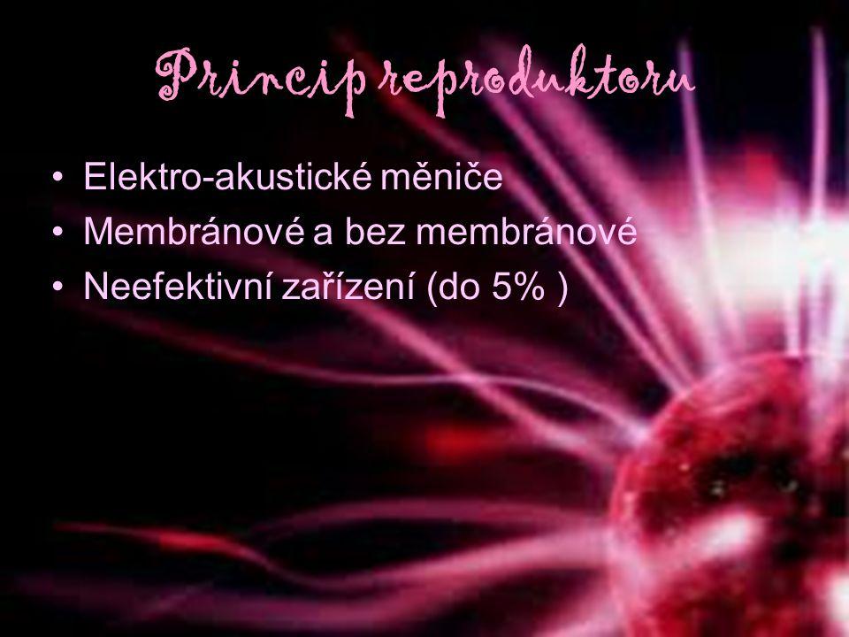 Princip reproduktoru Elektro-akustické měniče Membránové a bez membránové Neefektivní zařízení (do 5% )