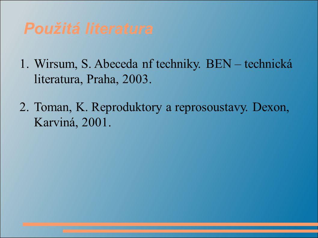1.Wirsum, S. Abeceda nf techniky. BEN – technická literatura, Praha, 2003. 2.Toman, K. Reproduktory a reprosoustavy. Dexon, Karviná, 2001. Použitá lit