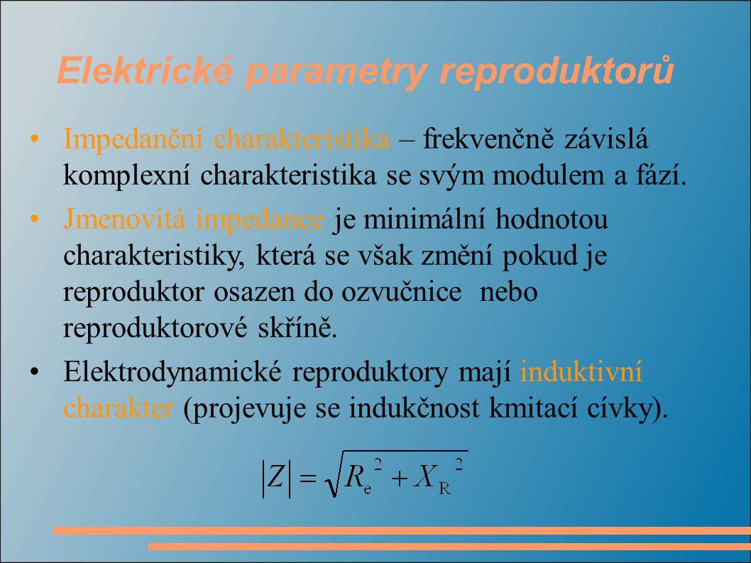 Impedanční charakteristika – frekvenčně závislá komplexní charakteristika se svým modulem a fází. Jmenovitá impedance je minimální hodnotou charakteri