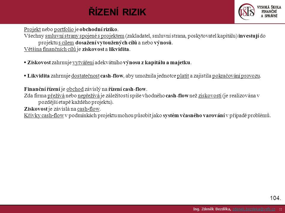 104. Ing. Zdeněk Bezděka, zdenek.bezdeka@vsfs.cz ::zdenek.bezdeka@vsfs.cz ŘÍZENÍ RIZIK Projekt nebo portfolio je obchodní riziko. Všechny smluvní stra