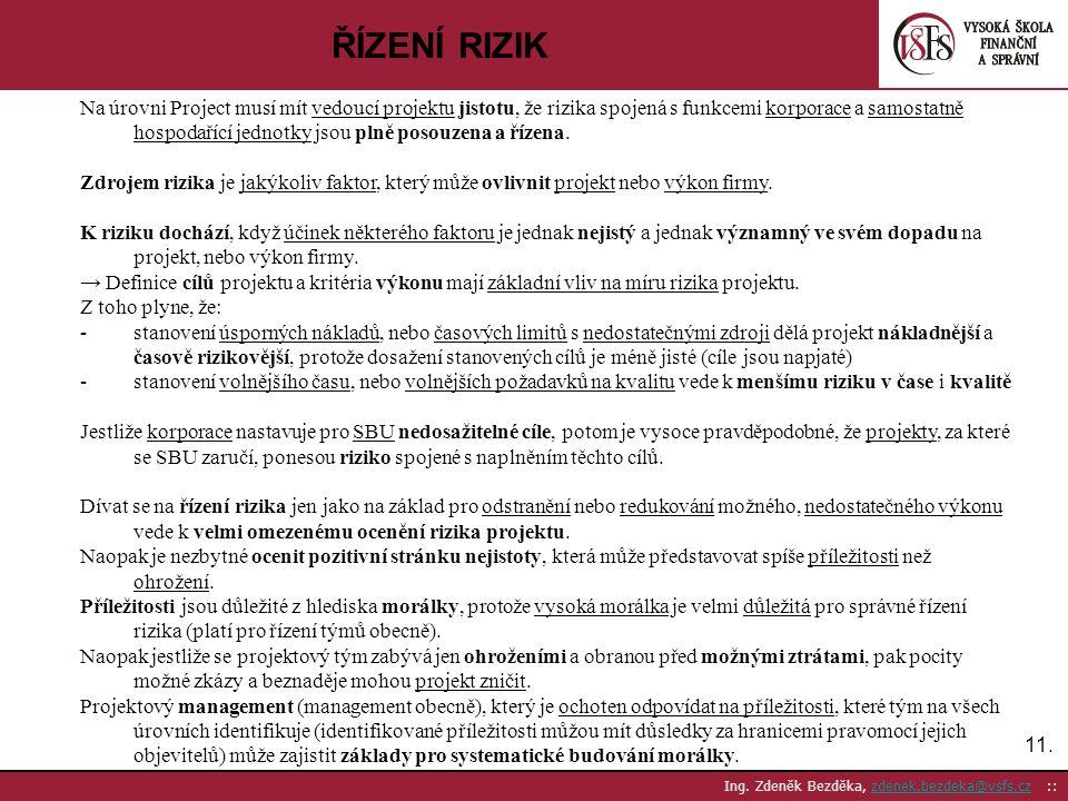 11. Ing. Zdeněk Bezděka, zdenek.bezdeka@vsfs.cz ::zdenek.bezdeka@vsfs.cz ŘÍZENÍ RIZIK Na úrovni Project musí mít vedoucí projektu jistotu, že rizika s