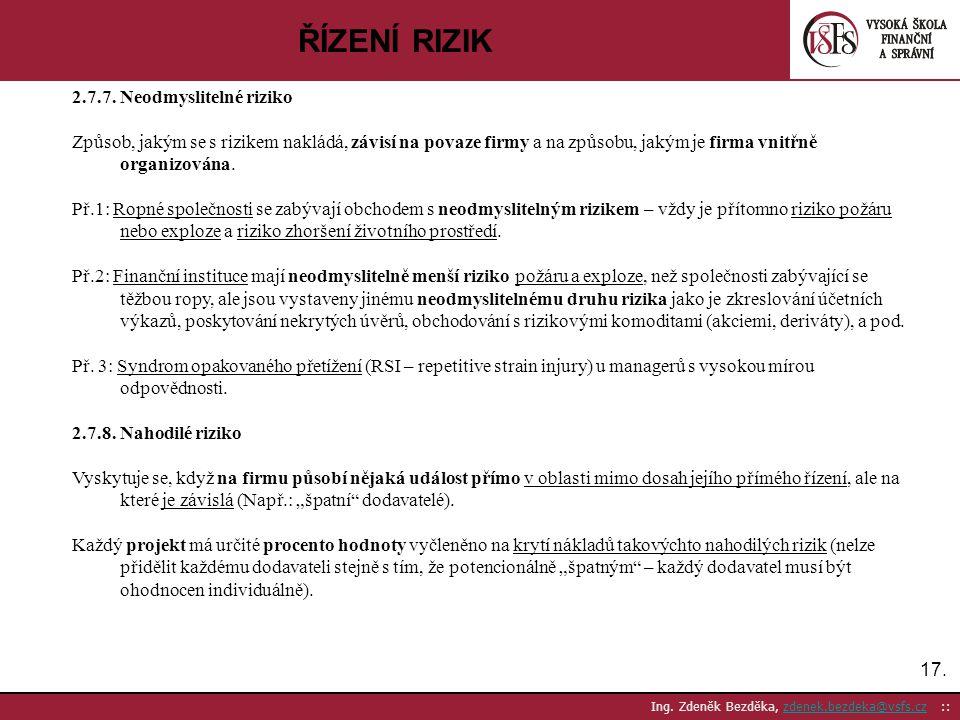 17. Ing. Zdeněk Bezděka, zdenek.bezdeka@vsfs.cz ::zdenek.bezdeka@vsfs.cz ŘÍZENÍ RIZIK 2.7.7. Neodmyslitelné riziko Způsob, jakým se s rizikem nakládá,