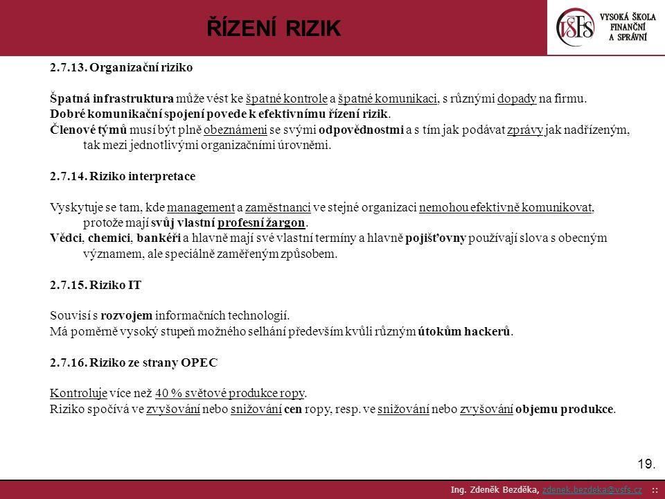 19. Ing. Zdeněk Bezděka, zdenek.bezdeka@vsfs.cz ::zdenek.bezdeka@vsfs.cz ŘÍZENÍ RIZIK 2.7.13. Organizační riziko Špatná infrastruktura může vést ke šp