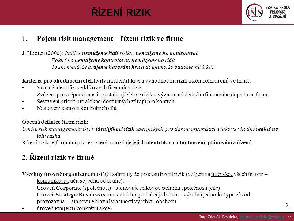 2.2. Ing. Zdeněk Bezděka, zdenek.bezdeka@vsfs.cz ::zdenek.bezdeka@vsfs.cz ŘÍZENÍ RIZIK 1.Pojem risk management – řízení rizik ve firmě J. Hooten (2000
