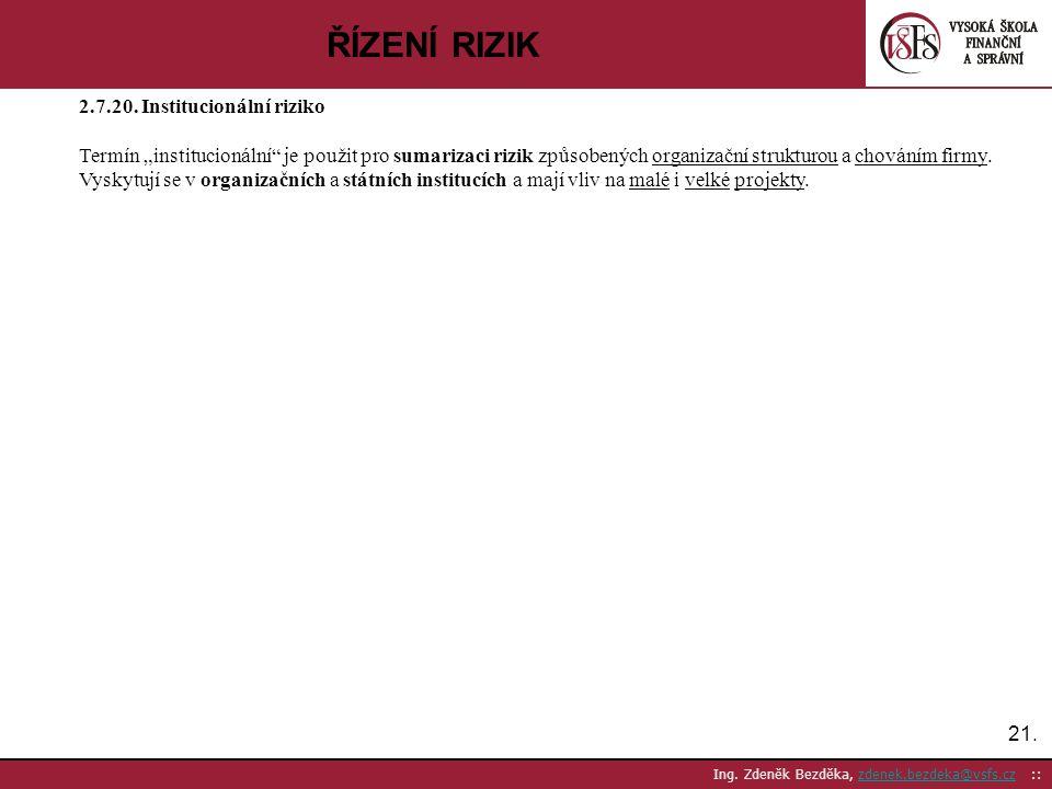 """21. Ing. Zdeněk Bezděka, zdenek.bezdeka@vsfs.cz ::zdenek.bezdeka@vsfs.cz ŘÍZENÍ RIZIK 2.7.20. Institucionální riziko Termín """"institucionální"""" je použi"""