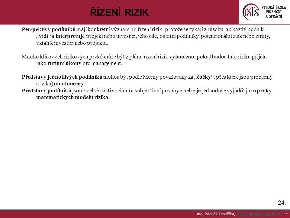 24. Ing. Zdeněk Bezděka, zdenek.bezdeka@vsfs.cz ::zdenek.bezdeka@vsfs.cz ŘÍZENÍ RIZIK Perspektivy podílníků mají konkrétní význam při řízení rizik, pr
