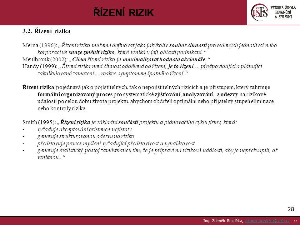 """28. Ing. Zdeněk Bezděka, zdenek.bezdeka@vsfs.cz ::zdenek.bezdeka@vsfs.cz ŘÍZENÍ RIZIK 3.2. Řízení rizika Merna (1996): """"Řízení rizika můžeme definovat"""
