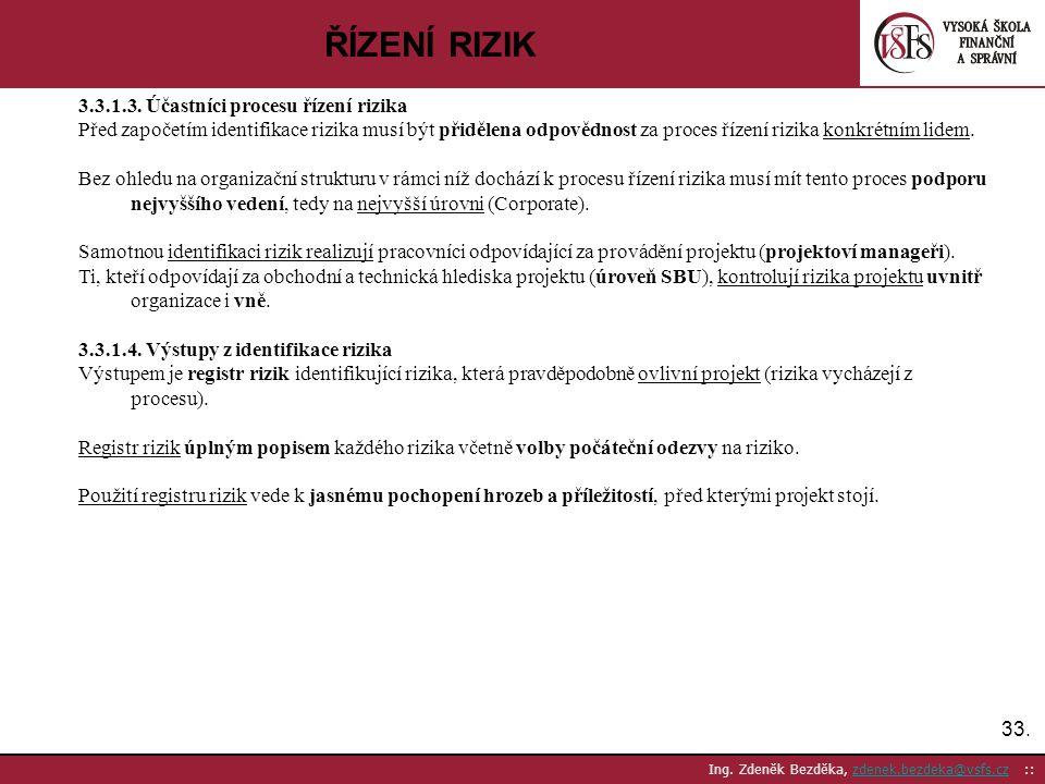 33. Ing. Zdeněk Bezděka, zdenek.bezdeka@vsfs.cz ::zdenek.bezdeka@vsfs.cz ŘÍZENÍ RIZIK 3.3.1.3. Účastníci procesu řízení rizika Před započetím identifi