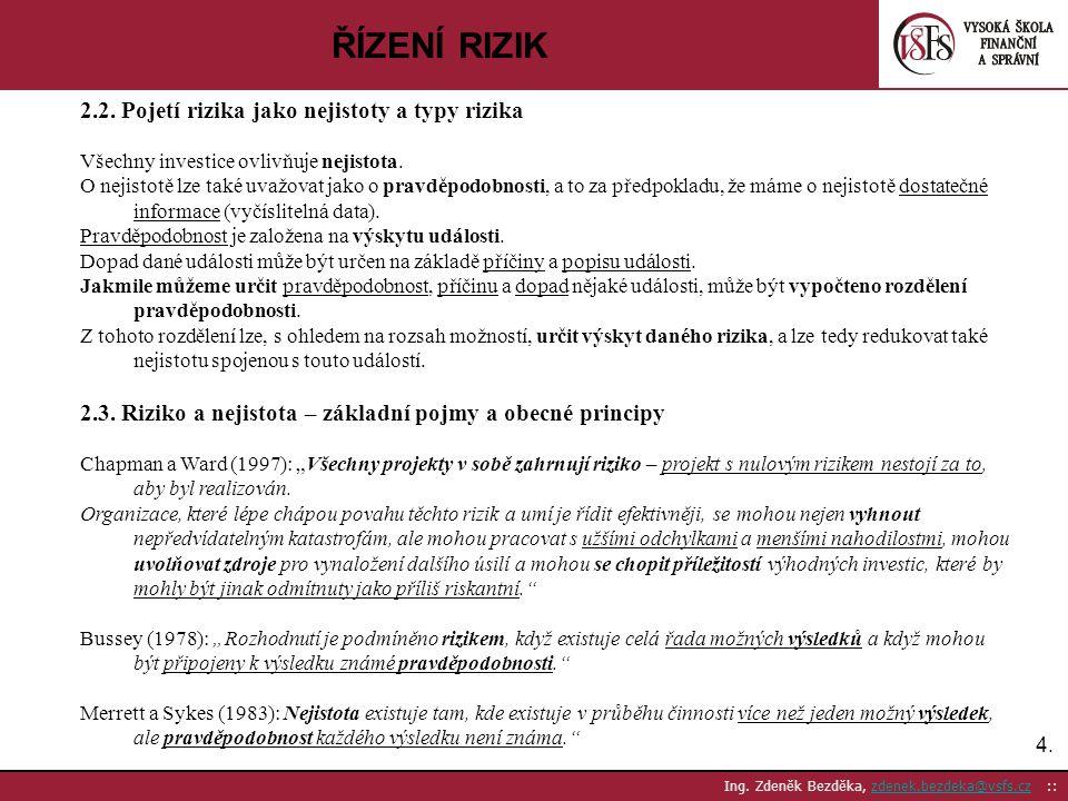 4.4. Ing. Zdeněk Bezděka, zdenek.bezdeka@vsfs.cz ::zdenek.bezdeka@vsfs.cz ŘÍZENÍ RIZIK 2.2. Pojetí rizika jako nejistoty a typy rizika Všechny investi