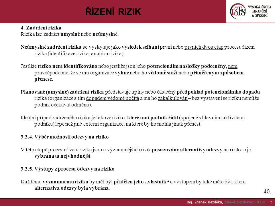 40. Ing. Zdeněk Bezděka, zdenek.bezdeka@vsfs.cz ::zdenek.bezdeka@vsfs.cz ŘÍZENÍ RIZIK 4. Zadržení rizika Rizika lze zadržet úmyslně nebo neúmyslně. Ne