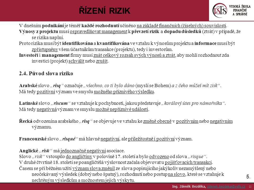 5.5. Ing. Zdeněk Bezděka, zdenek.bezdeka@vsfs.cz ::zdenek.bezdeka@vsfs.cz ŘÍZENÍ RIZIK V dnešním podnikání je téměř každé rozhodnutí učiněno na základ