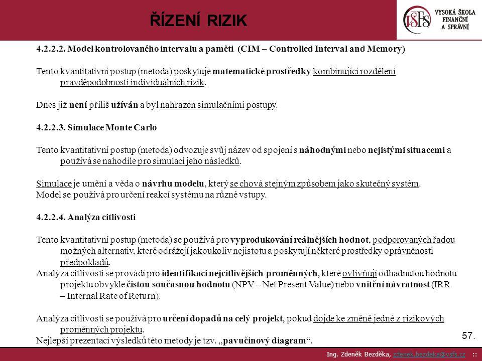 57. Ing. Zdeněk Bezděka, zdenek.bezdeka@vsfs.cz ::zdenek.bezdeka@vsfs.cz ŘÍZENÍ RIZIK 4.2.2.2. Model kontrolovaného intervalu a paměti (CIM – Controll
