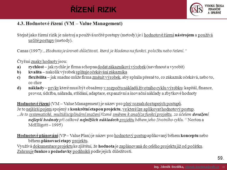 59. Ing. Zdeněk Bezděka, zdenek.bezdeka@vsfs.cz ::zdenek.bezdeka@vsfs.cz ŘÍZENÍ RIZIK 4.3. Hodnotové řízení (VM – Value Management) Stejně jako řízení