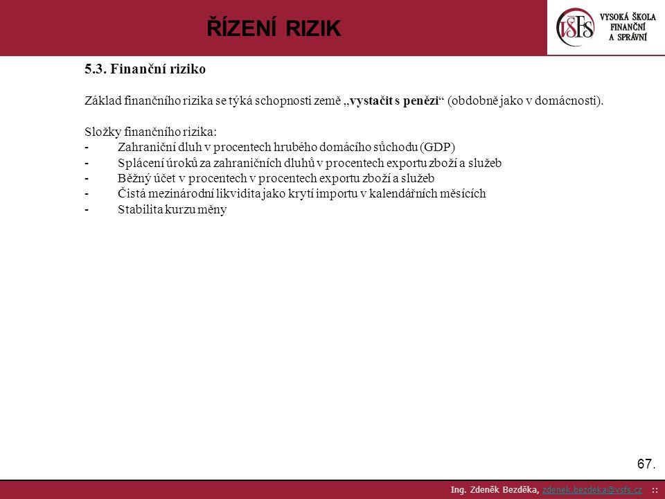 67. Ing. Zdeněk Bezděka, zdenek.bezdeka@vsfs.cz ::zdenek.bezdeka@vsfs.cz ŘÍZENÍ RIZIK 5.3. Finanční riziko Základ finančního rizika se týká schopnosti