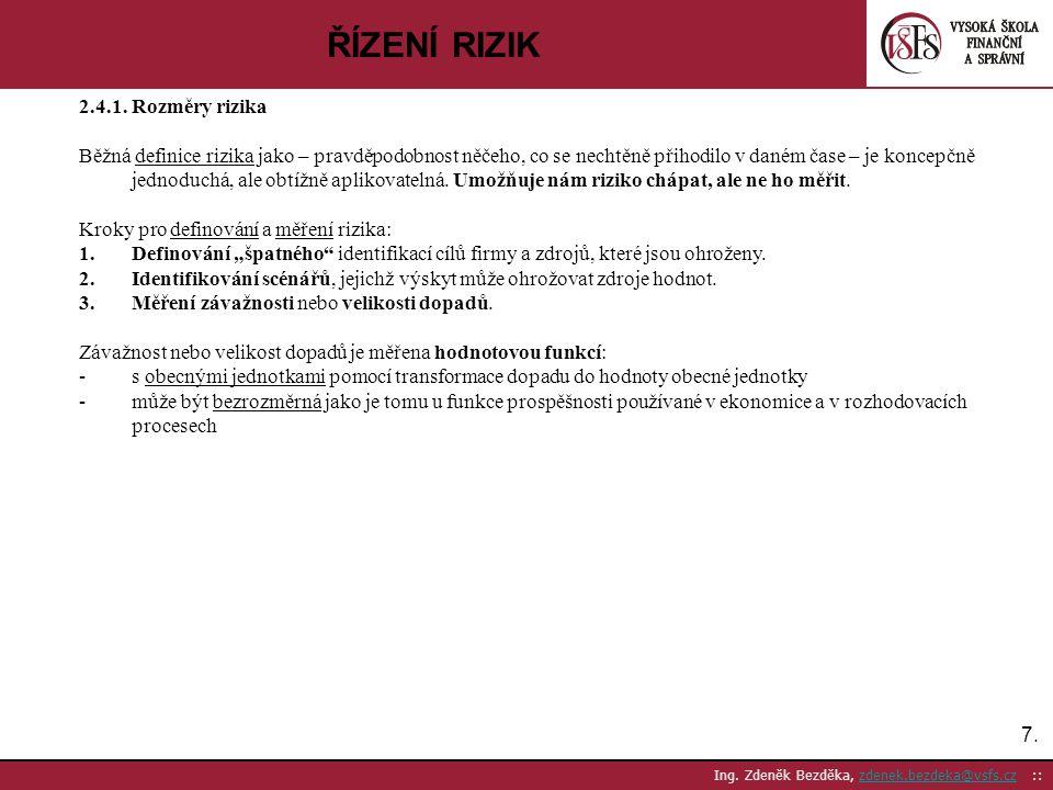 7.7. Ing. Zdeněk Bezděka, zdenek.bezdeka@vsfs.cz ::zdenek.bezdeka@vsfs.cz ŘÍZENÍ RIZIK 2.4.1. Rozměry rizika Běžná definice rizika jako – pravděpodobn