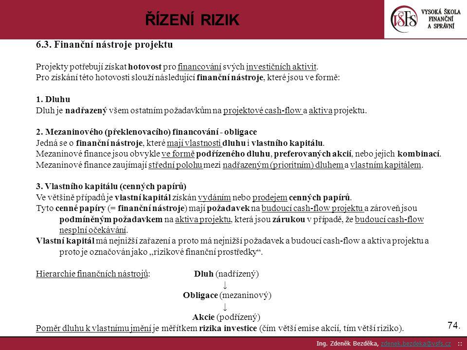 74. Ing. Zdeněk Bezděka, zdenek.bezdeka@vsfs.cz ::zdenek.bezdeka@vsfs.cz ŘÍZENÍ RIZIK 6.3. Finanční nástroje projektu Projekty potřebují získat hotovo