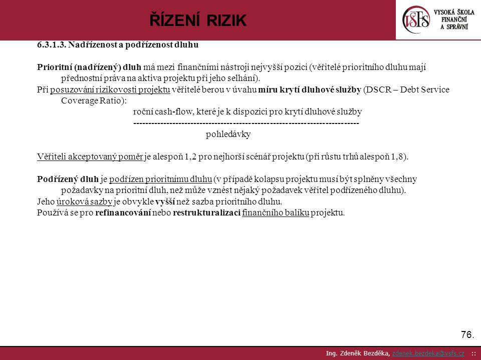76. Ing. Zdeněk Bezděka, zdenek.bezdeka@vsfs.cz ::zdenek.bezdeka@vsfs.cz ŘÍZENÍ RIZIK 6.3.1.3. Nadřízenost a podřízenost dluhu Prioritní (nadřízený) d