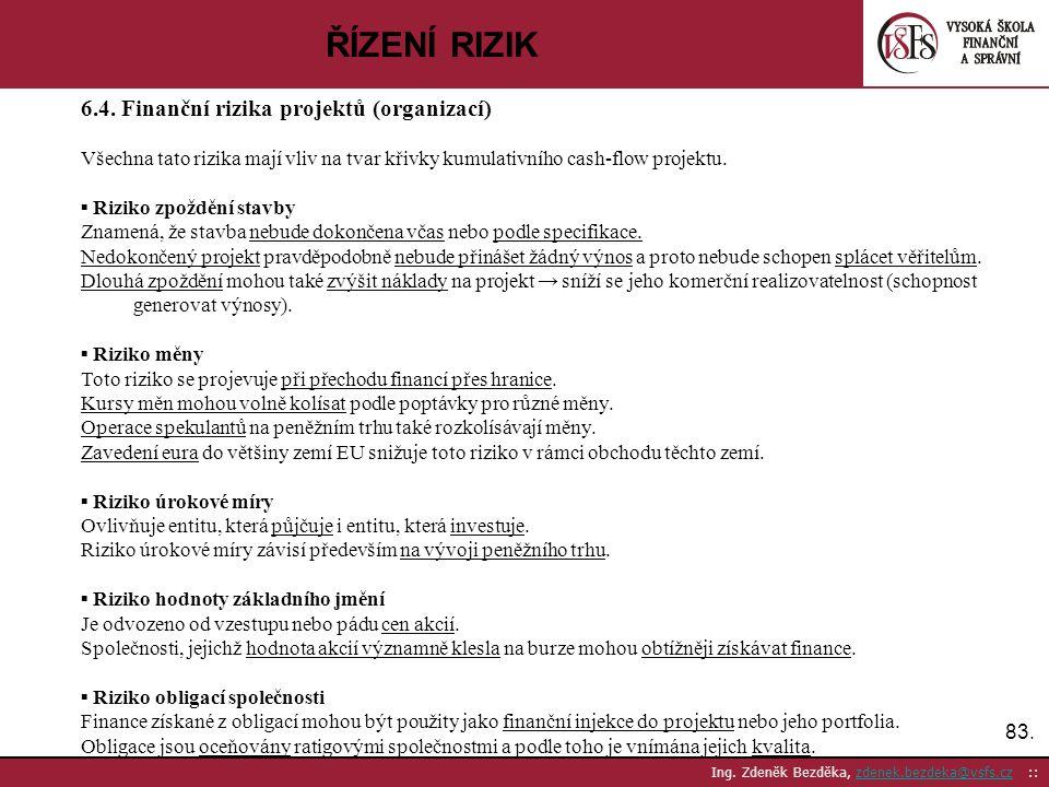83. Ing. Zdeněk Bezděka, zdenek.bezdeka@vsfs.cz ::zdenek.bezdeka@vsfs.cz ŘÍZENÍ RIZIK 6.4. Finanční rizika projektů (organizací) Všechna tato rizika m