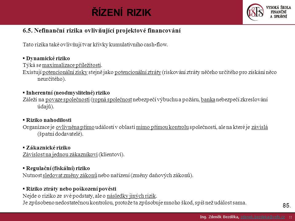 85. Ing. Zdeněk Bezděka, zdenek.bezdeka@vsfs.cz ::zdenek.bezdeka@vsfs.cz ŘÍZENÍ RIZIK 6.5. Nefinanční rizika ovlivňující projektové financování Tato r