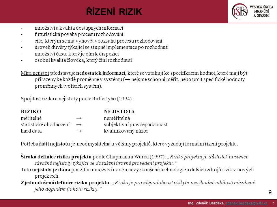 9.9. Ing. Zdeněk Bezděka, zdenek.bezdeka@vsfs.cz ::zdenek.bezdeka@vsfs.cz ŘÍZENÍ RIZIK -množství a kvalita dostupných informací -futuristická povaha p