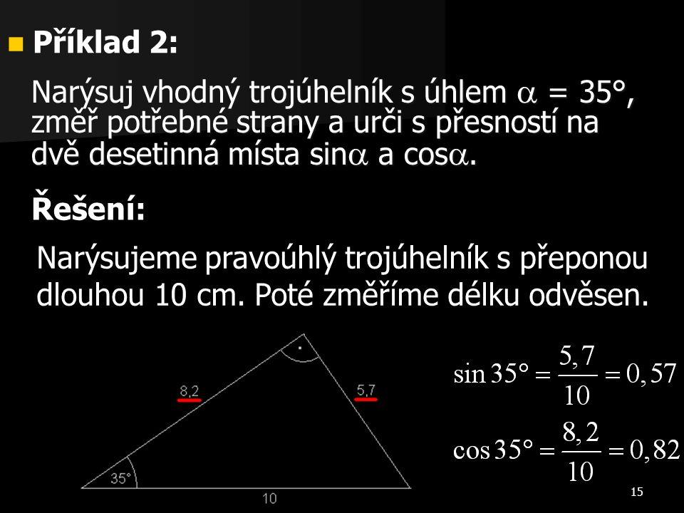 15 Příklad 2: Příklad 2: Narýsujeme pravoúhlý trojúhelník s přeponou dlouhou 10 cm. Poté změříme délku odvěsen. Narýsuj vhodný trojúhelník s úhlem  =