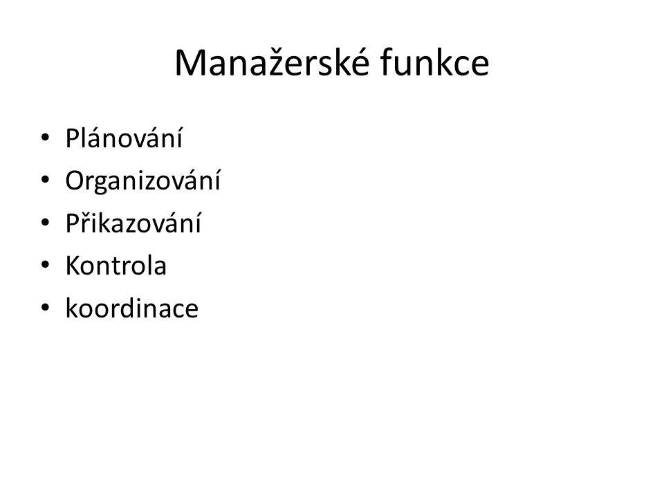 Manažerské funkce Plánování Organizování Přikazování Kontrola koordinace
