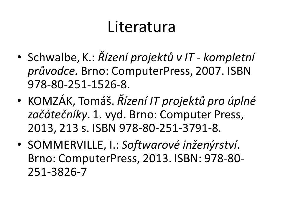 Literatura Schwalbe, K.: Řízení projektů v IT - kompletní průvodce. Brno: ComputerPress, 2007. ISBN 978-80-251-1526-8. KOMZÁK, Tomáš. Řízení IT projek