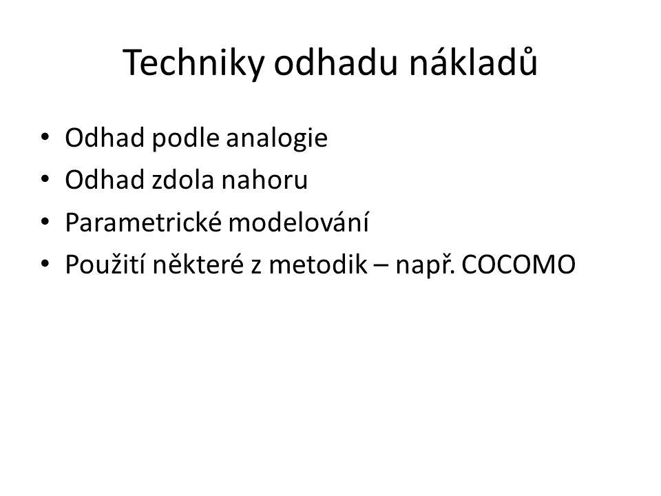 Techniky odhadu nákladů Odhad podle analogie Odhad zdola nahoru Parametrické modelování Použití některé z metodik – např. COCOMO
