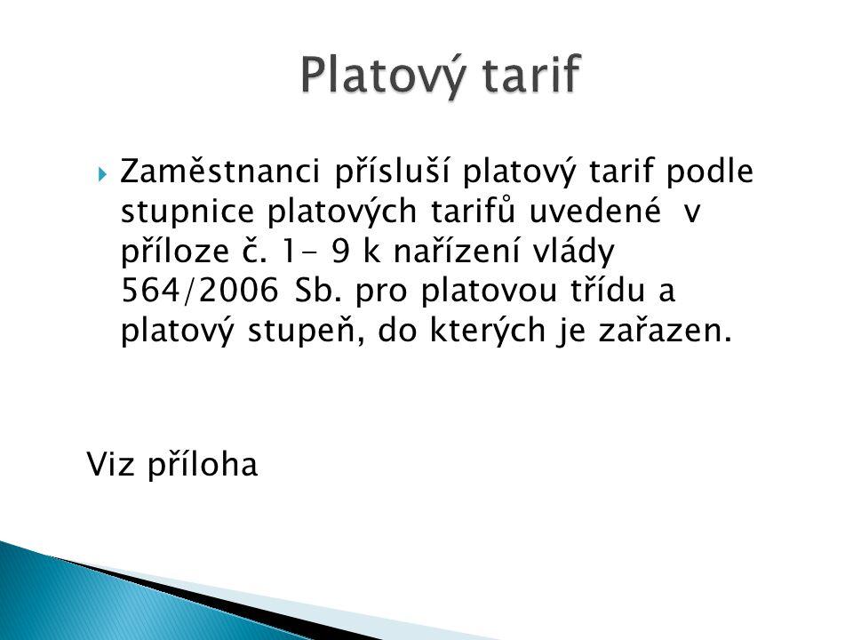 Platový tarif  Zaměstnanci přísluší platový tarif podle stupnice platových tarifů uvedené v příloze č.