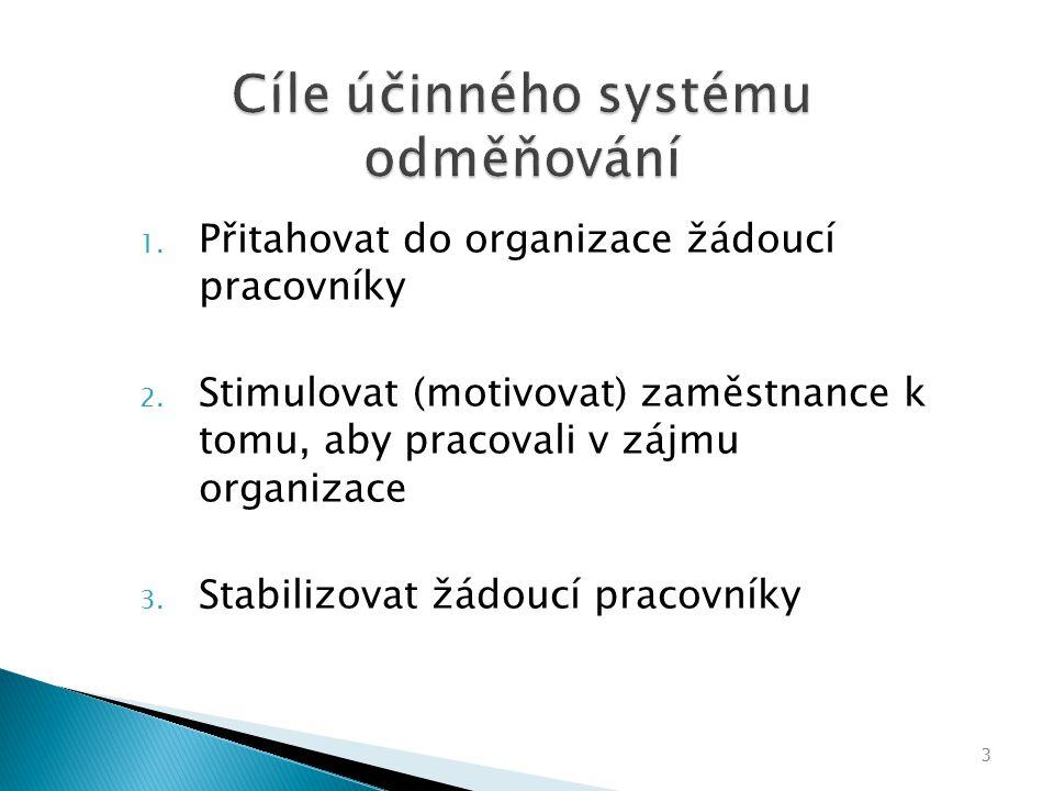 Cíle účinného systému odměňování 1.Přitahovat do organizace žádoucí pracovníky 2.