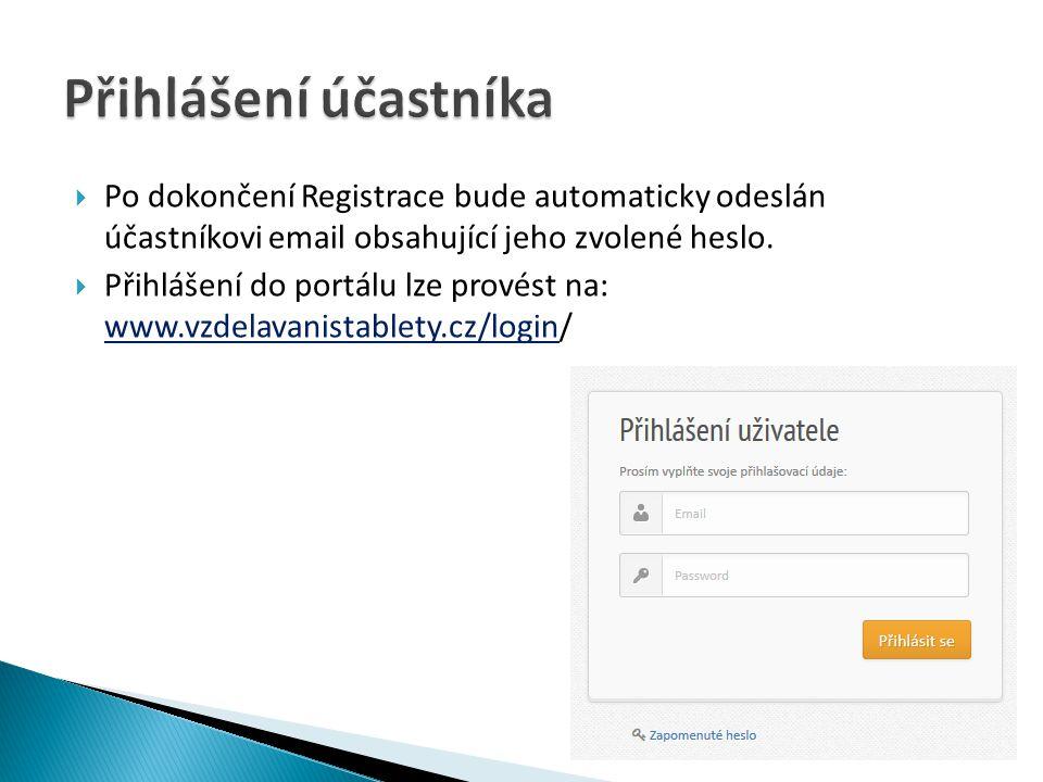  Po dokončení Registrace bude automaticky odeslán účastníkovi email obsahující jeho zvolené heslo.