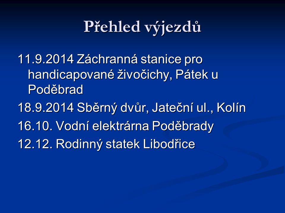 Přehled výjezdů 11.9.2014 Záchranná stanice pro handicapované živočichy, Pátek u Poděbrad 18.9.2014 Sběrný dvůr, Jateční ul., Kolín 16.10.