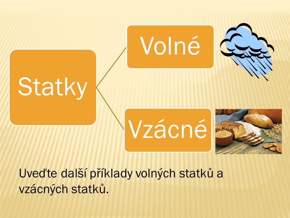 Statky VolnéVzácné Uveďte další příklady volných statků a vzácných statků.