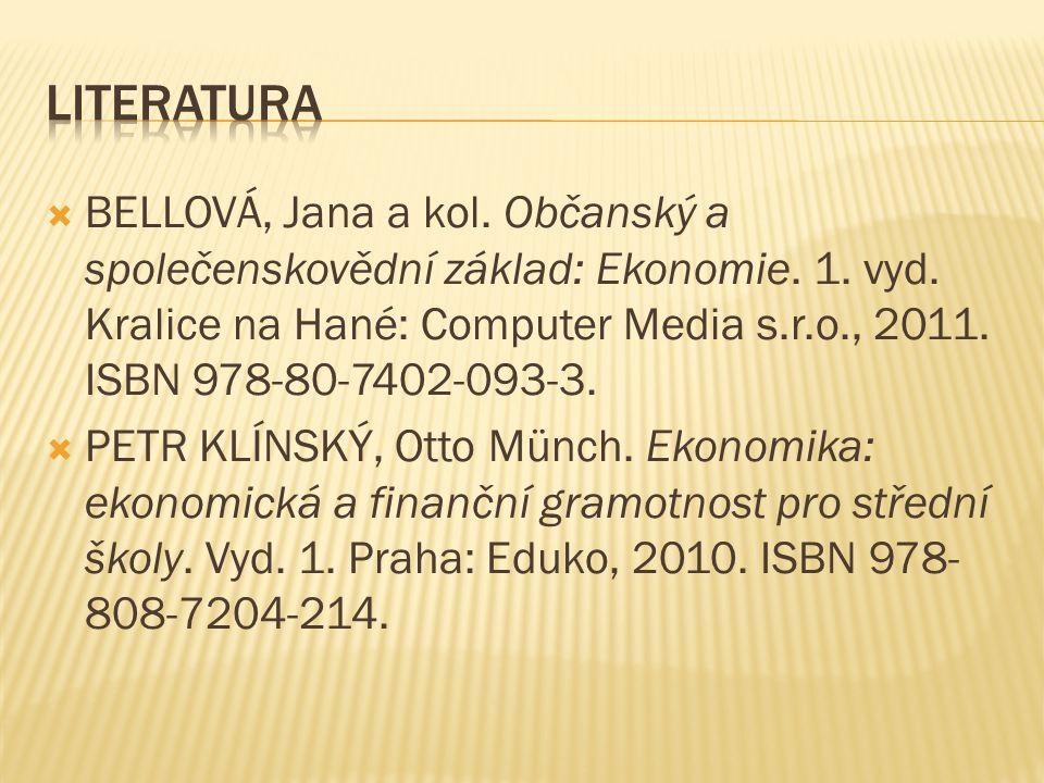  BELLOVÁ, Jana a kol. Občanský a společenskovědní základ: Ekonomie.