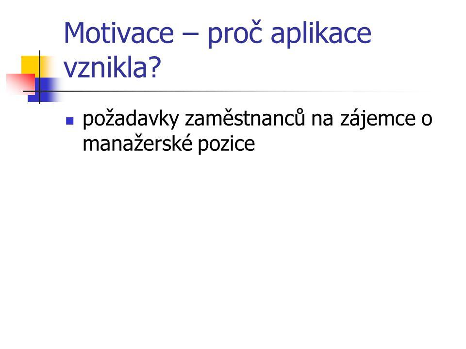 Motivace – proč aplikace vznikla? požadavky zaměstnanců na zájemce o manažerské pozice