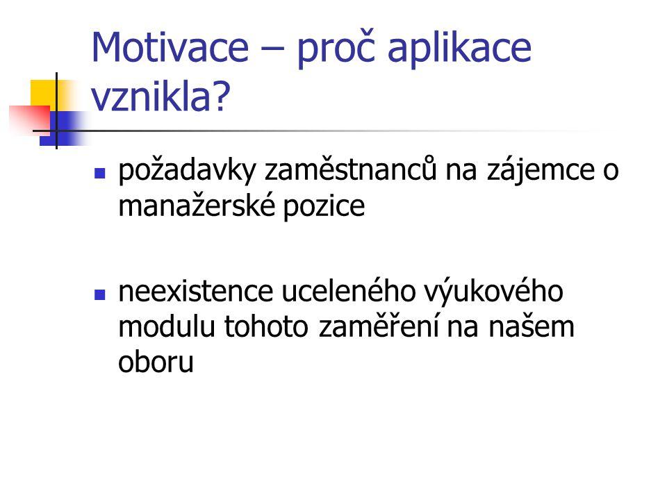 Motivace – proč aplikace vznikla.