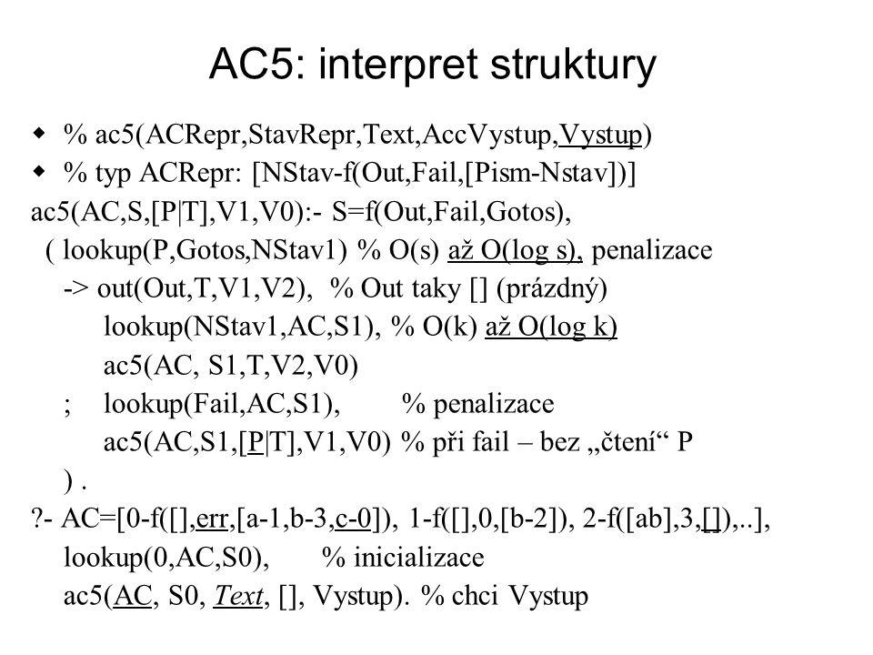 AC : porovnání přístupu  AC0 - AC2: rychlý,  generujeme program, v konkrétní syntaxi, tj.