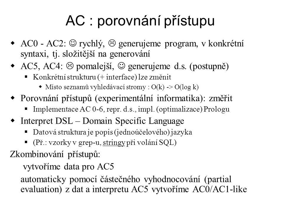 AC : porovnání přístupu  AC0 - AC2: rychlý,  generujeme program, v konkrétní syntaxi, tj. složitější na generování  AC5, AC4:  pomalejší, generuje